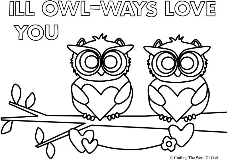 I Ll Owl Ways Love You Coloring Page Valentines Day Coloring