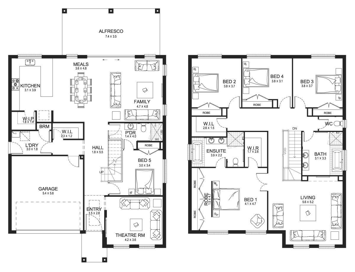 Jewel 38 Double Level Floorplan By Kurmond Homes New Home Builders Sydney Nsw Two Storey House Plans Storey Homes Two Story House Plans