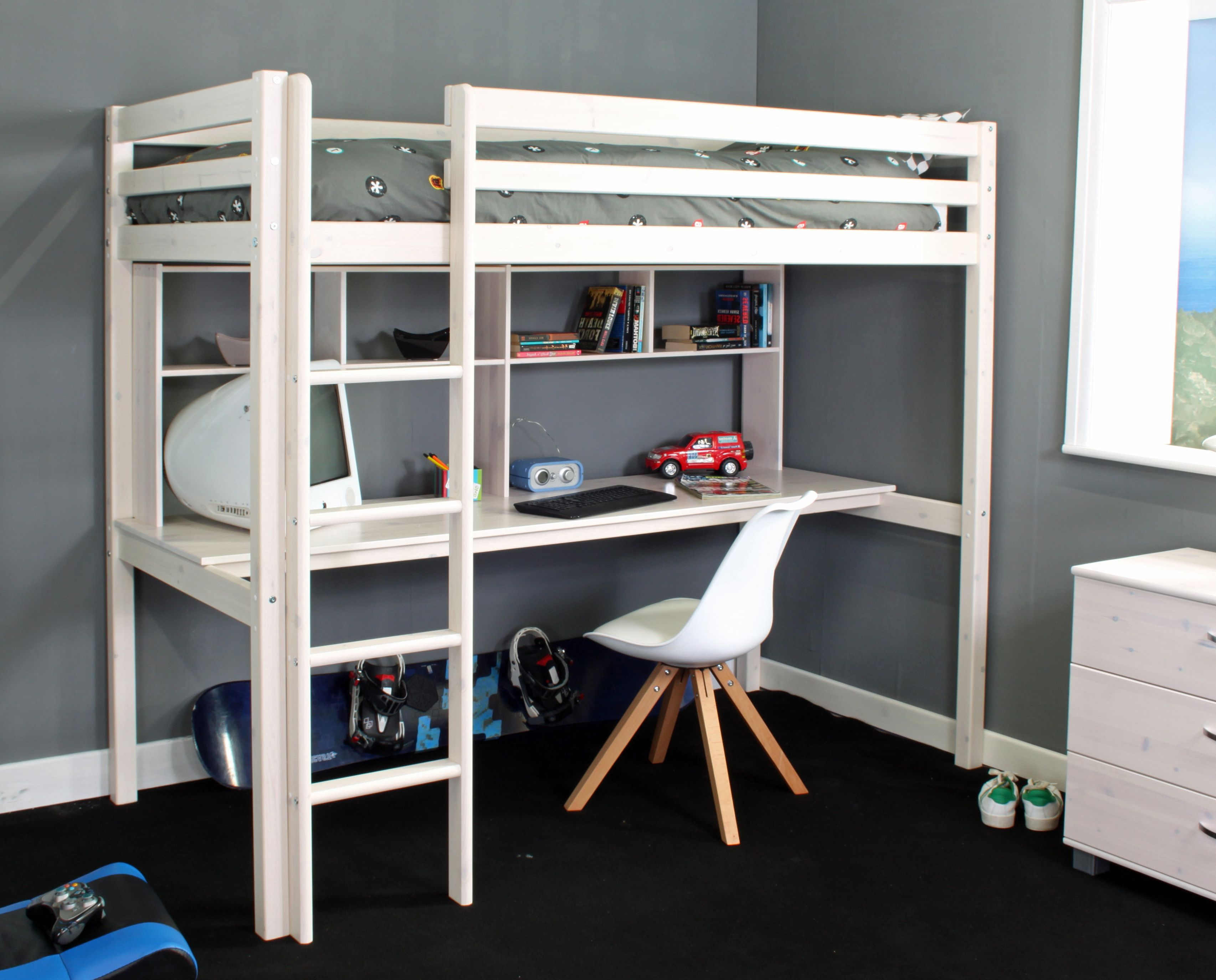 Features A Full Length Desk with Shelving. High sleeper
