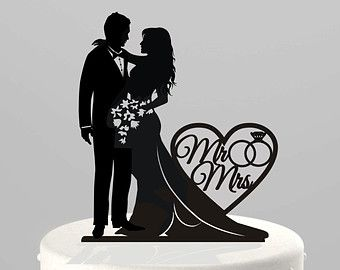 Wedding Cake Topper Silhouette Bride Groom By TrueloveAffair