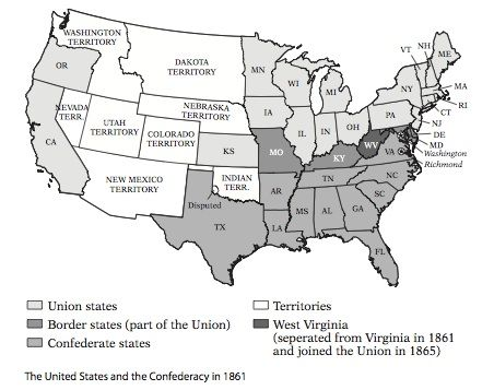 The Union And Confederate States In 1861 Http Www Education Com