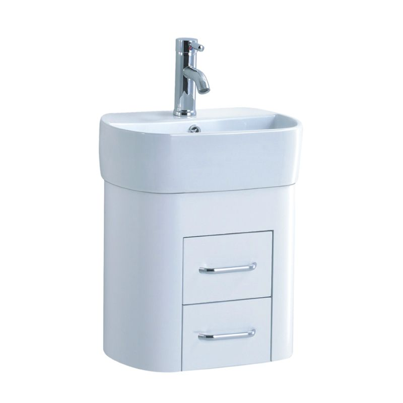 Apollo White Gloss Wall Unit Basin 1 Tap Hole