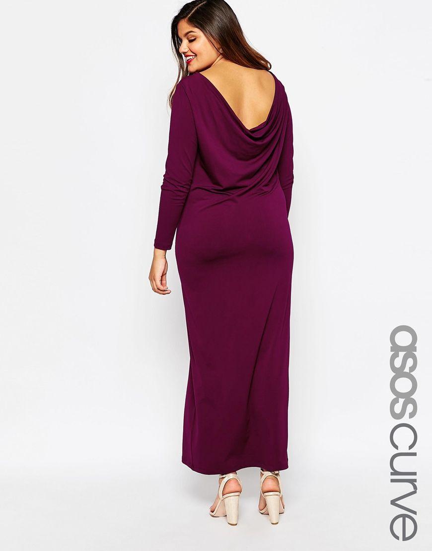 Kleid in Übergröße von ASOS CURVE glatter Stoff ungefüttertes Design ...