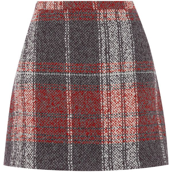 d1e1f8c4b OASIS CHECK BOUCLE SKIRT ($67) ❤ liked on Polyvore featuring skirts, mini  skirts, multi, wrap skirt, red checkered skirt, red print skirt, short mini  ...