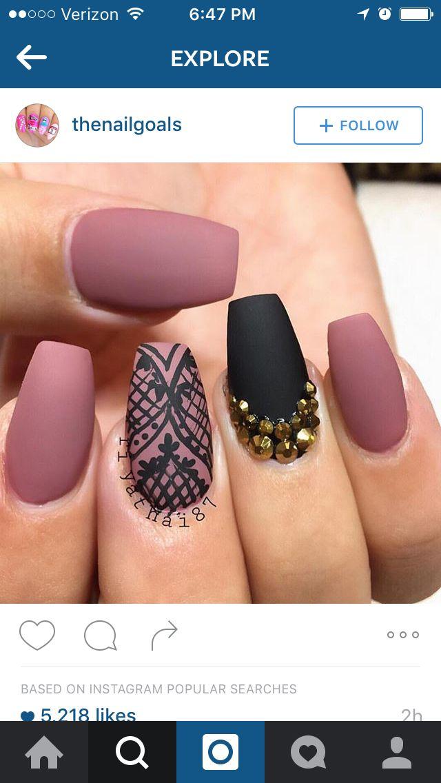 Dusty Rose Pink Matte Black Pink Nails Rose Pink Nails Mauve Nails