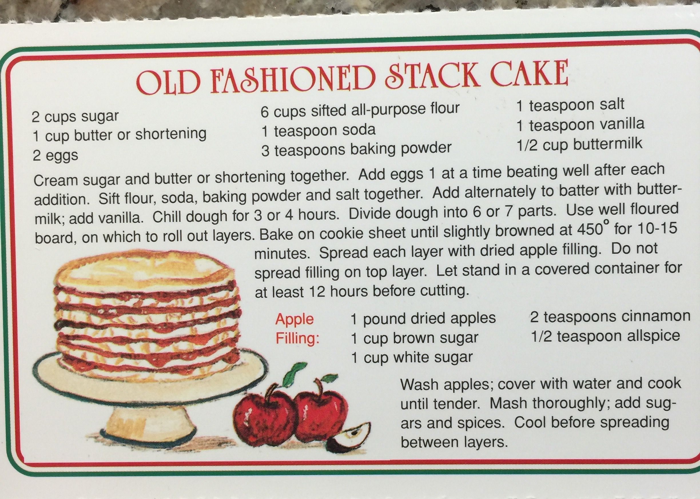 The Apple Barn Old Fashioned Stack Cake Vintage Recipes