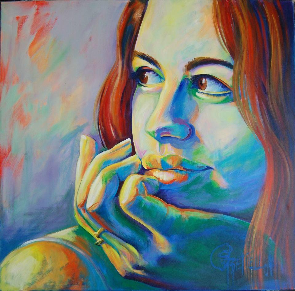 Retrato de Ana Laura en tecnica mixta de Judith Grettell Figueroa