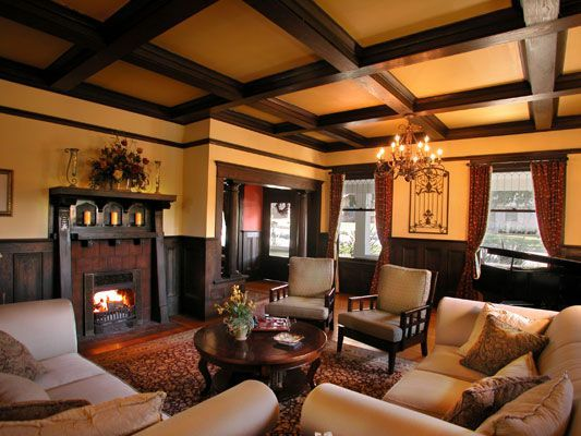 Gorgeous Living Room I Love The Golden Colour Of The Walls And The Beams On The Ceiling Craftsman Style Interiors Craftsman Interior House Design