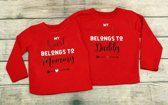 94503ad5 My Heart Belongs to Daddy | My Heart Belongs to Mommy | Valentines Day Shirt  | Toddler Cotton Shirt