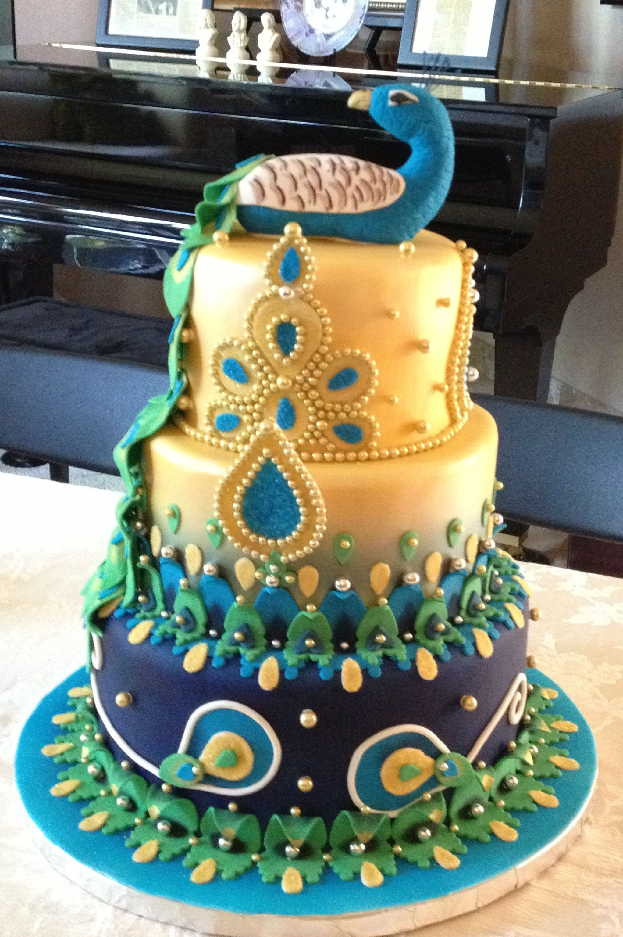 Indian Themed Peacock Cake Love The Borders Cakes Pinterest - Peacock birthday cake