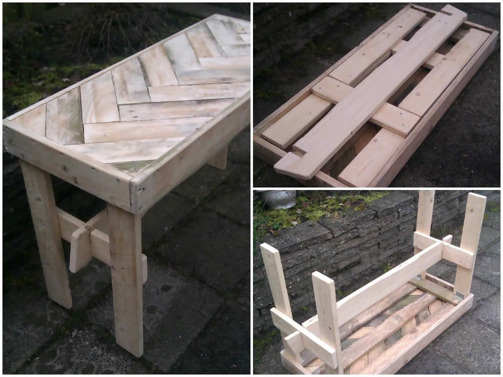 This is a foldable table, made for my kids from recycled pallets. In summertime when they are playing in the garden, they can use it. When it's winter, the