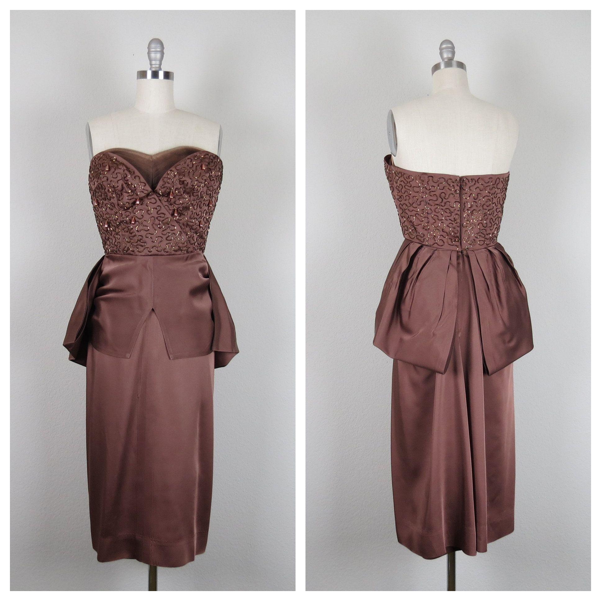 Vintage 1950s satin beaded strapless cocktail dress size