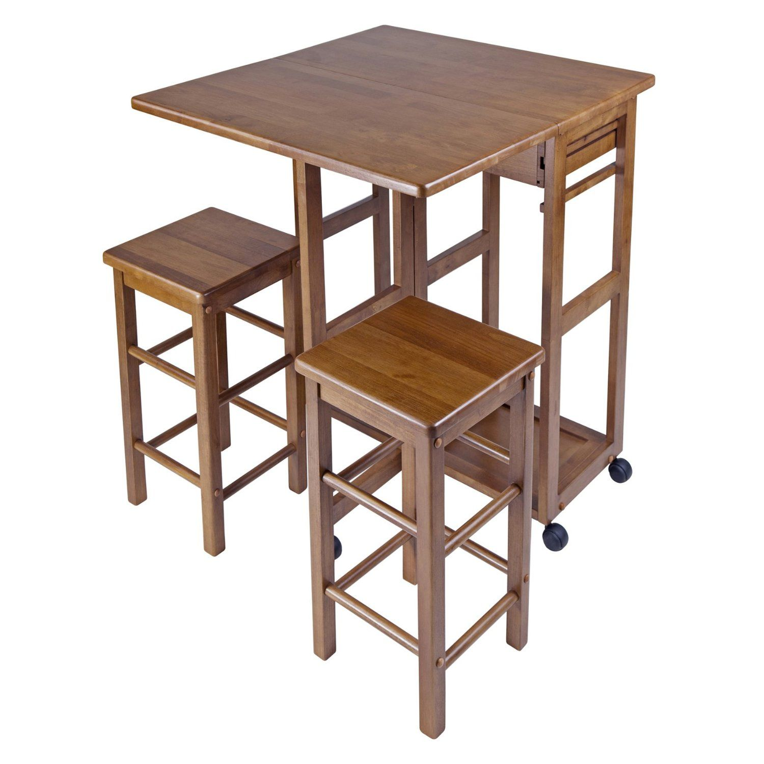 Amazoncom Winsome Wood Table Drop Leaf Square Stool Natural