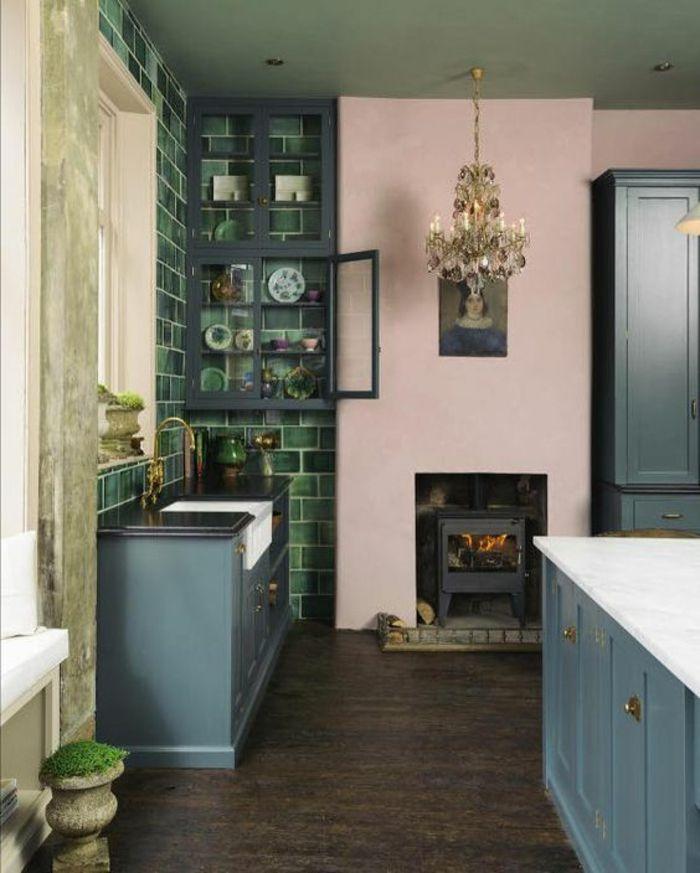 repeindre sa cuisine, peinture gris perle pour les meubles, mur de ...