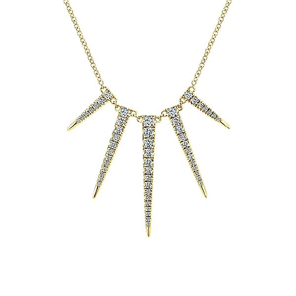 Gabriel & Co NK4727Y45JJ 14k Yellow Gold Diamond Fashion Necklace Gabriel & Co. make fashionable pieces like this necklace style# NK4727Y45JJ, from the Kaslique collection. Beautiful round…
