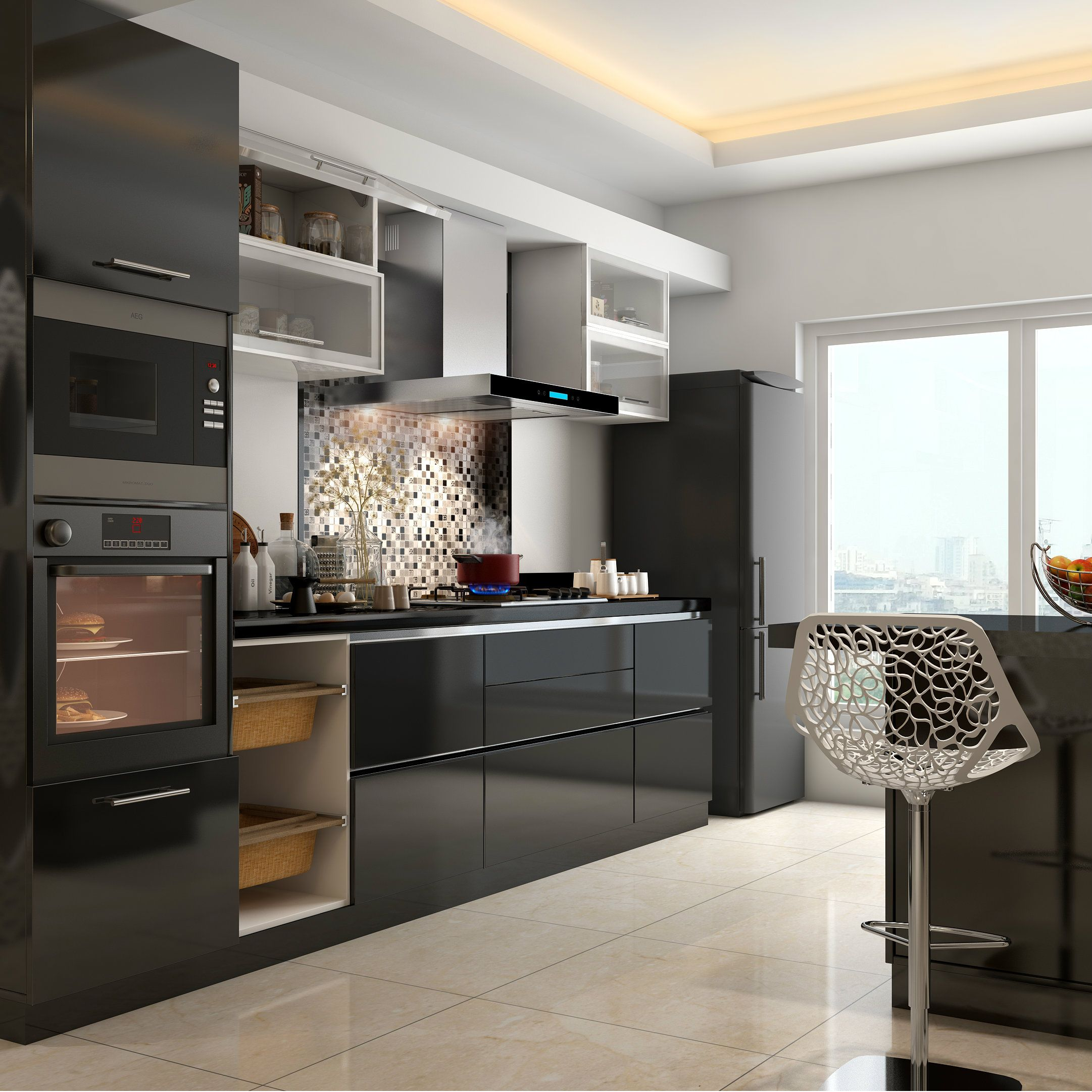 A Sleek Black Modular Kitchen With Built In Appliances