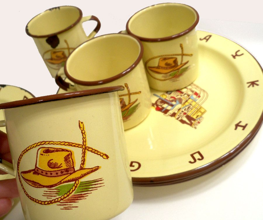 Vintage Western Cowboy Cowgirl Enamelware Cups and 10\  Plates 8 pieces total by Monterrey Western Ware  sc 1 st  Pinterest & Vintage Western Cowboy Cowgirl Enamelware Cups and 10\