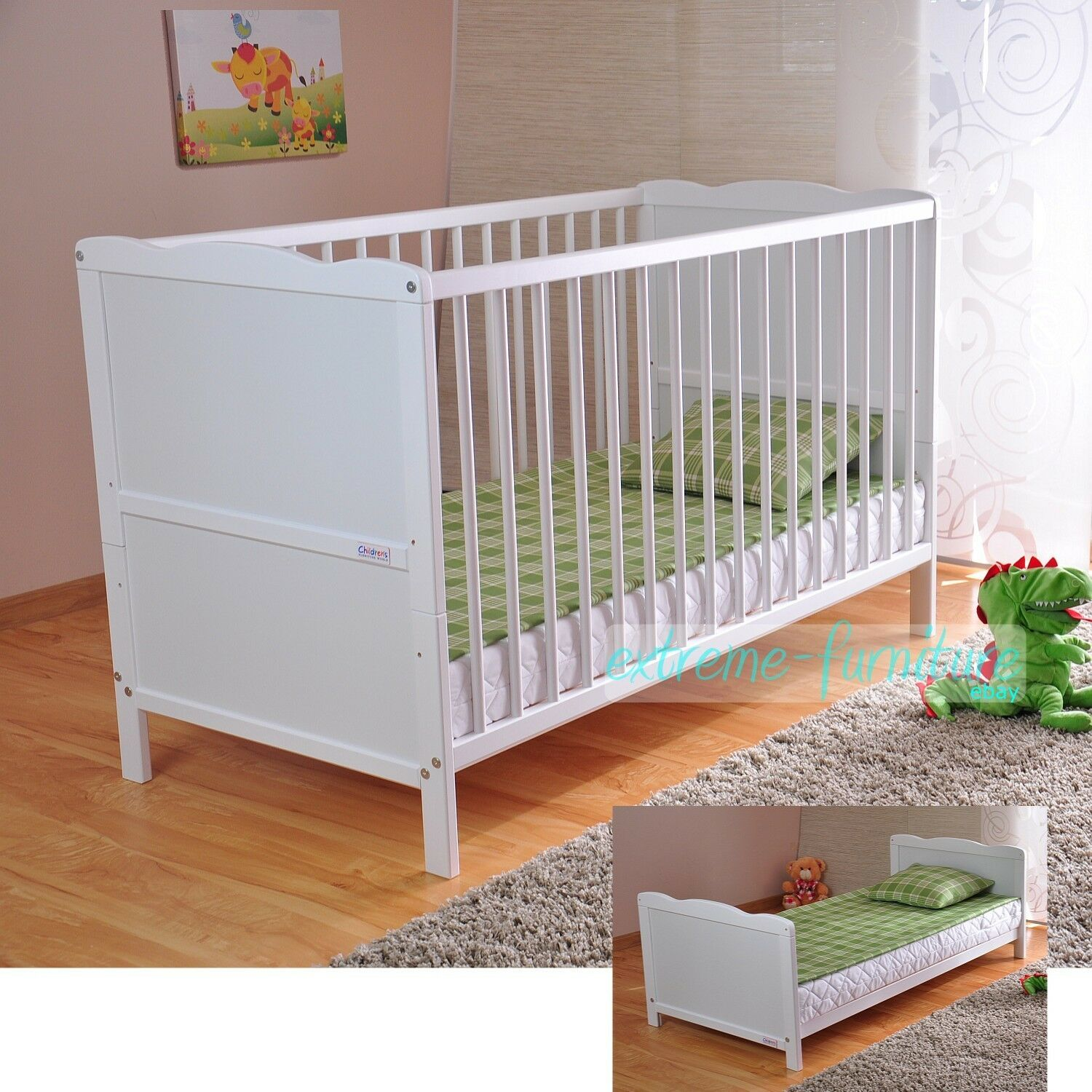 Wooden Baby Cot Bed & Deluxe Aloe Vera Mattress Converts