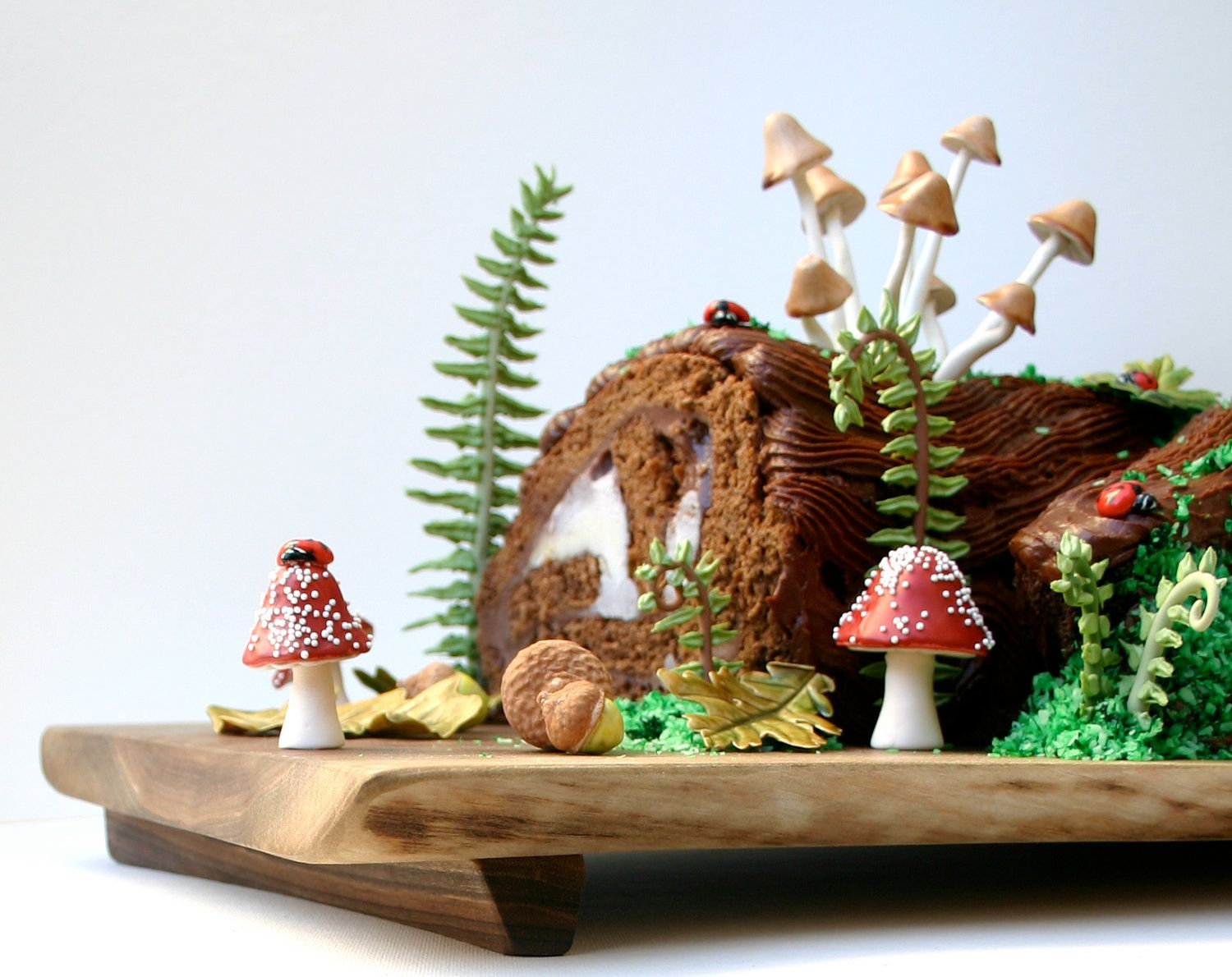 How to make a christmas yule log decoration - Woodland Cake Decorating Set Including Sugar Lady Bugs Ferns And Mushrooms Chocolate Filled Toadstools And Chocolate Cocoa Bean Filled Acorns