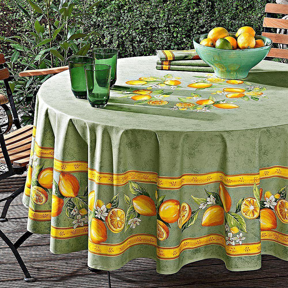 Nappe Ronde Linge De Table Agrumes En 2020 Linge De Table Nappe Ronde Nappe De Table