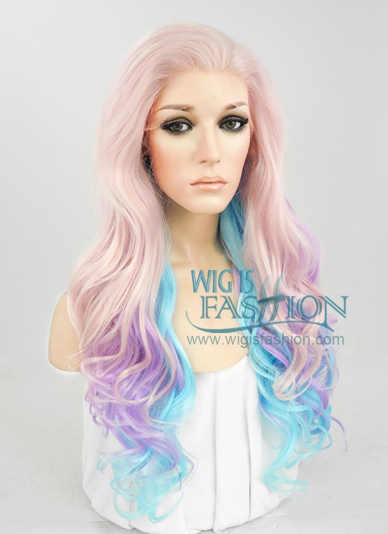 26 Long Curly Light Pink Purple Blue Mix Pastel Ombre Lace Front