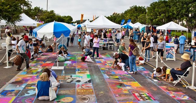 Create a street chalk masterpiece with a chalk square of your own. ArtSplash 2014 is going on this weekend, Sept. 27 & 28th.  Come out for the fun.  Bring your kids and pooches.  All are welcome!  #carlsbad #lacosta