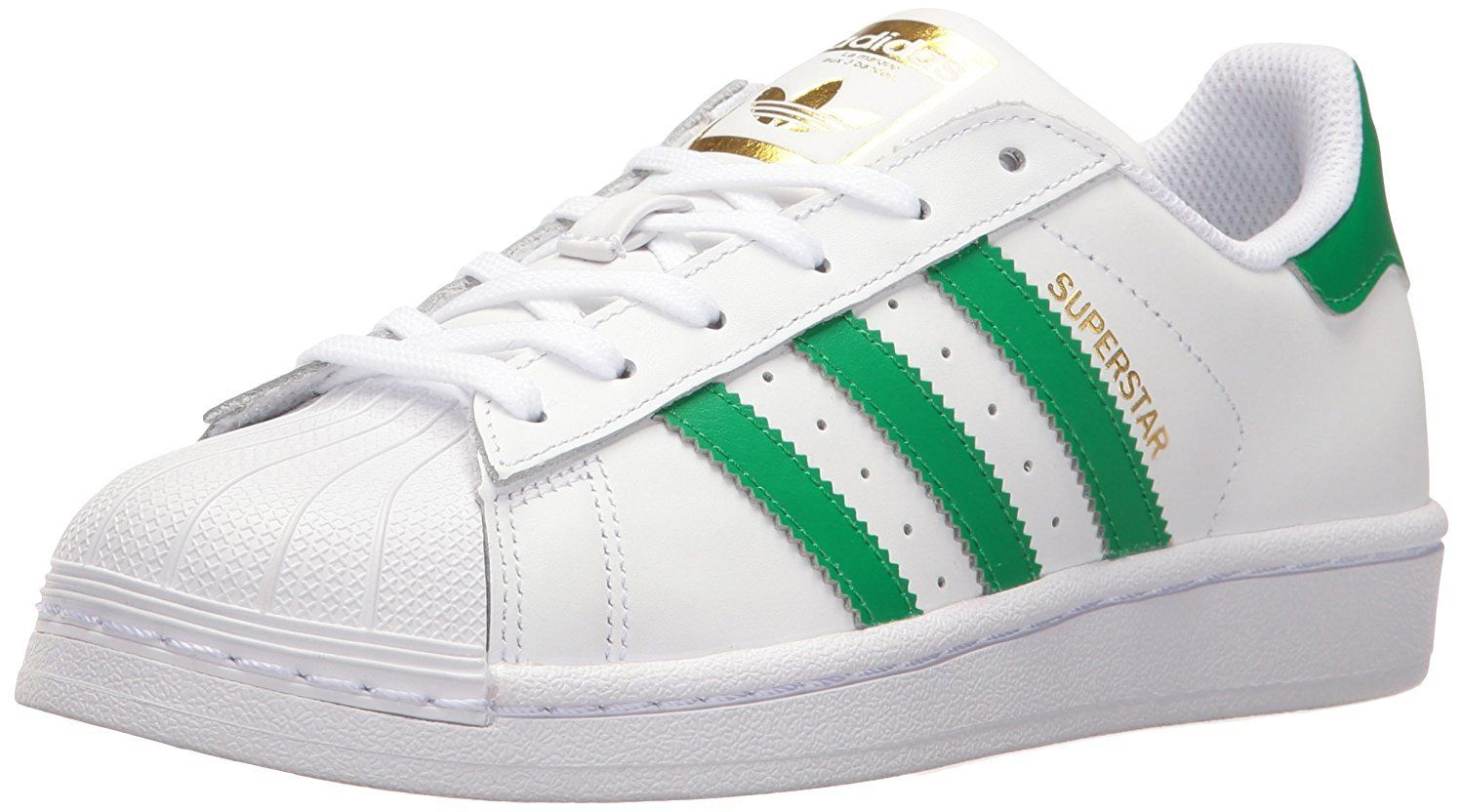 ... Full grain leather upper Rubber shell toe Synthetic leather lining  Metallic gold accents dress up the look of the legendary adidas superstar  sneaker. 2b06cf5c77