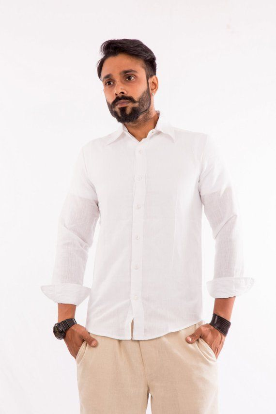 0f266e86215 Men Linen Beach Boho Wedding White Shirt