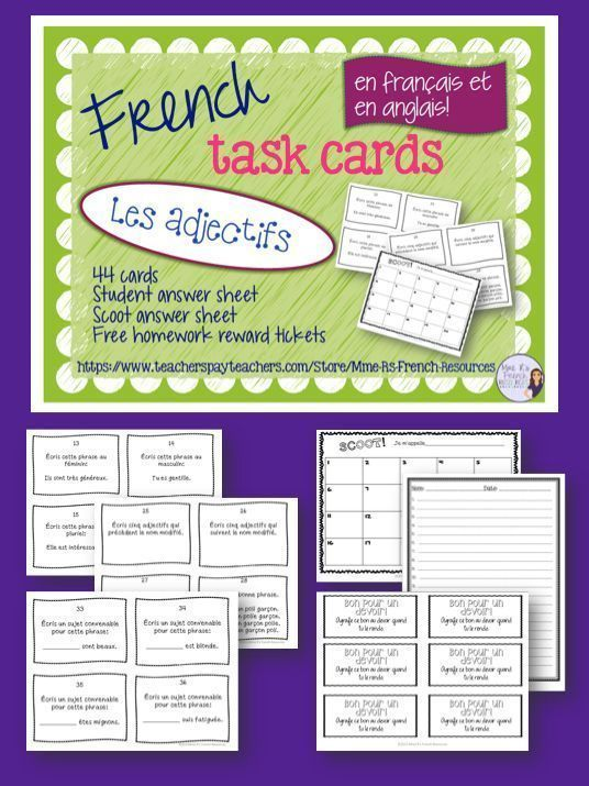 French Adjectives Task Cards And Scoot Game Pinterest Multiple
