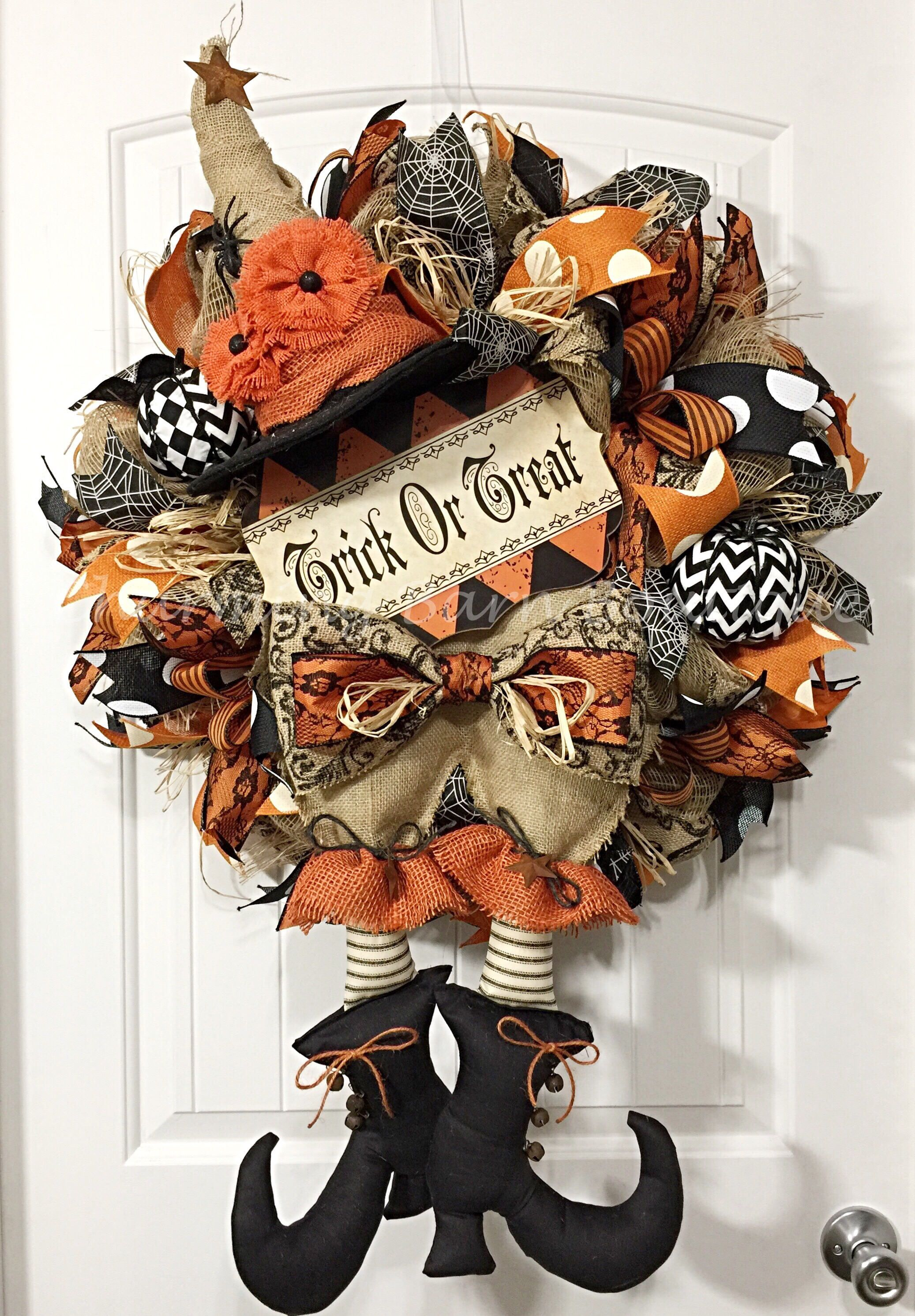XL Halloween Wreath, Halloween Wreath, Witch Wreath, Front Door - Primitive Halloween Decor
