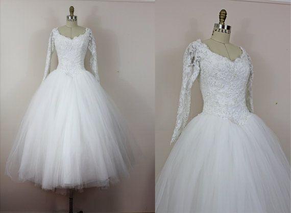 1950s vintage wedding dress 50s ballerina length tulle
