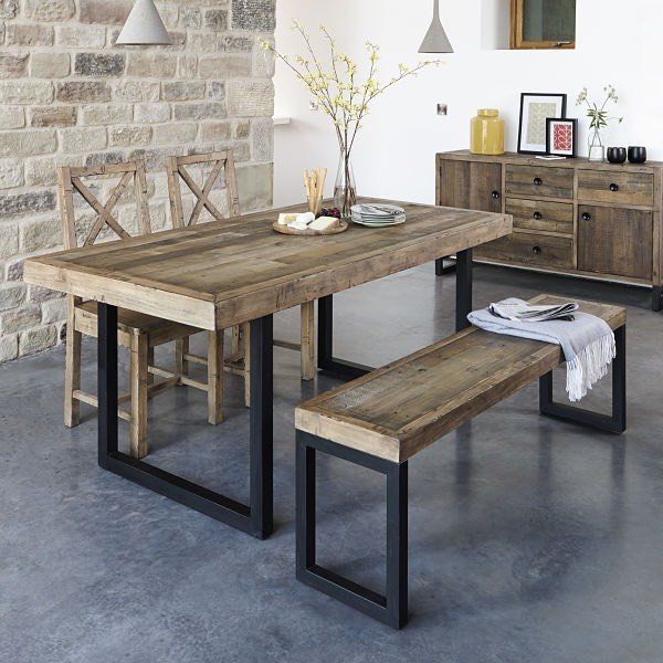 Table Console à Rallonge: Standford Industrial Reclaimed Wood Dining Table