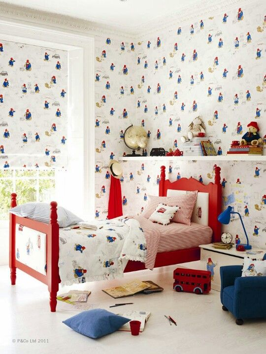 Jane Churchill Vintage Paddington Bear Wallpaper Kids Room Design