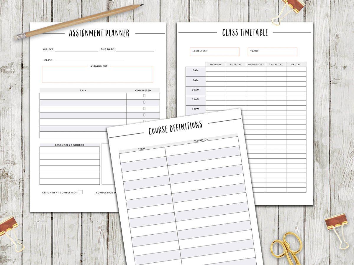 printable student planner 2018
