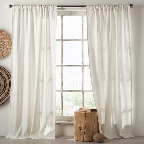 Living room - curtains - Linen Cotton Window Panel \u2013 White + Ivory - cortinas azules