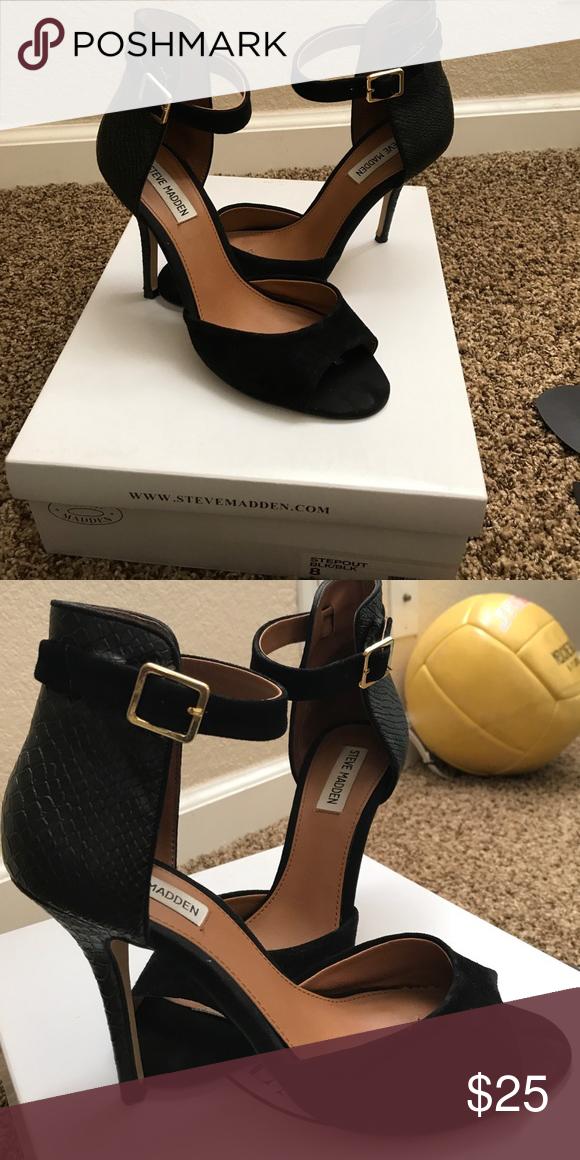 1998a5946 Women's black high heel sandals size 8 Black high heel sandals. Steven  Madden