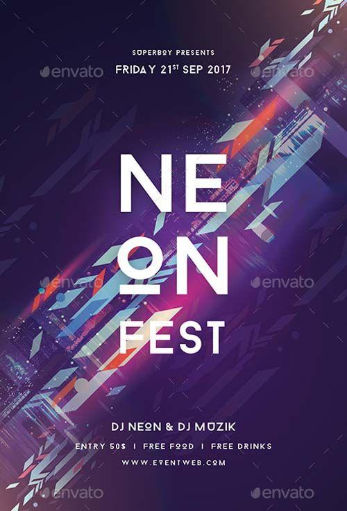 Neon Fest Party Flyer Template  HttpsFfflyerComNeonFest