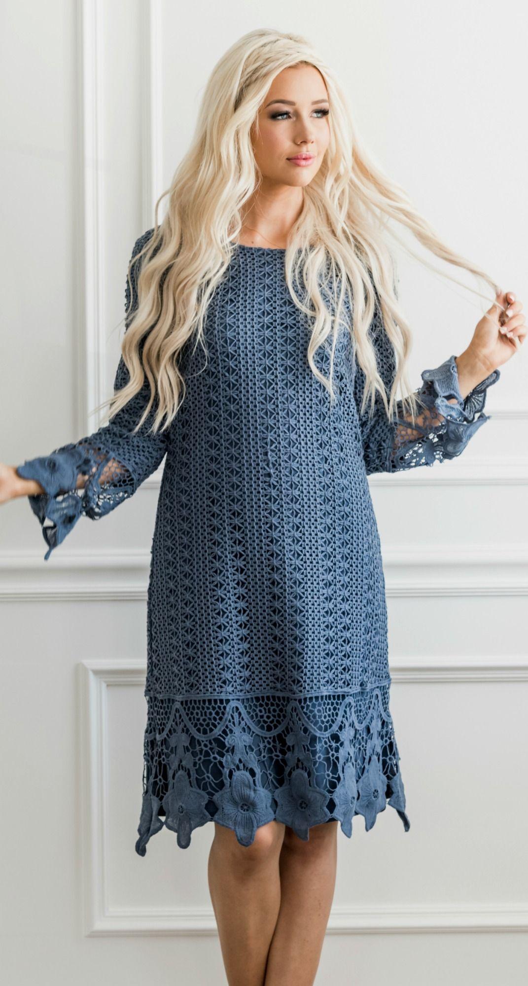 Boho Lydia Dress Blue Dress Women Dusty Blue Dress Blue Dress With Sleeves [ 2000 x 1071 Pixel ]