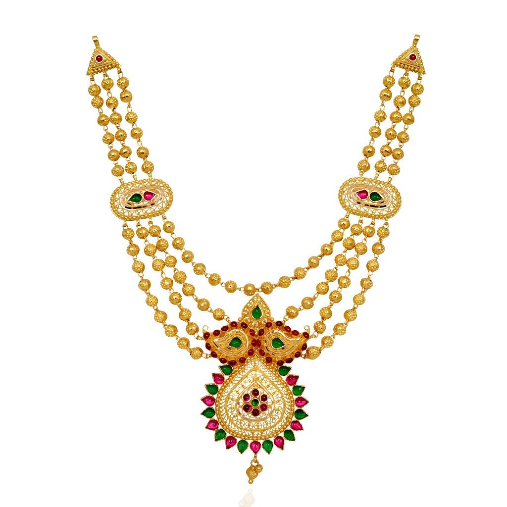 Gold necklace designs in grt jewellers - Necklaces Beautifully Red Green Stones Studded Gold Balls Necklace Grt Jewellers