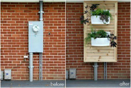 13 Ways To Hide Outdoor Eyesores Remodelaholic House Tweaking Cover Electrical Panel Hide Electrical Panel