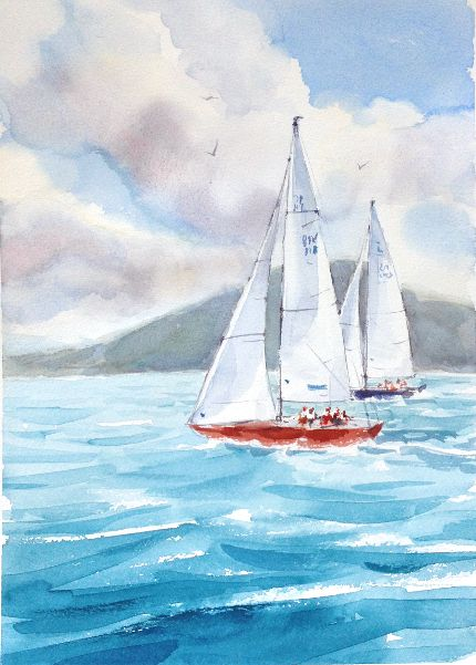 Paint A Beautiful Watercolor Seascape In 5 Easy Steps Watercolor
