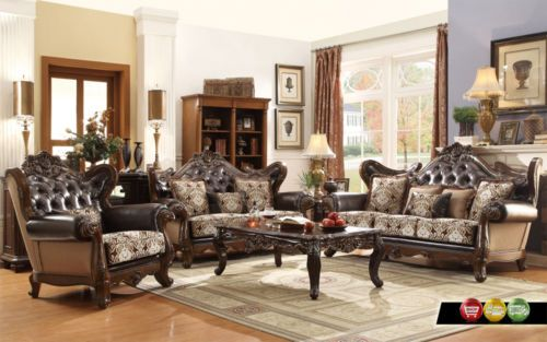 Ornate Antique Style French Provincial Traditional Brown Living Room Furniture