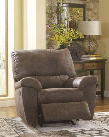 Pikara Gunsmoke Faux Leather Rocker Recliner Ashley Furniture Chairs Furniture Ashley Furniture Sale