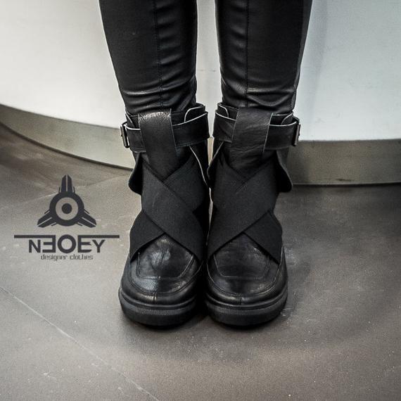 7515121cb3e Cyberpunk Black leather handmade boots - sneakers Suki. Leather ...