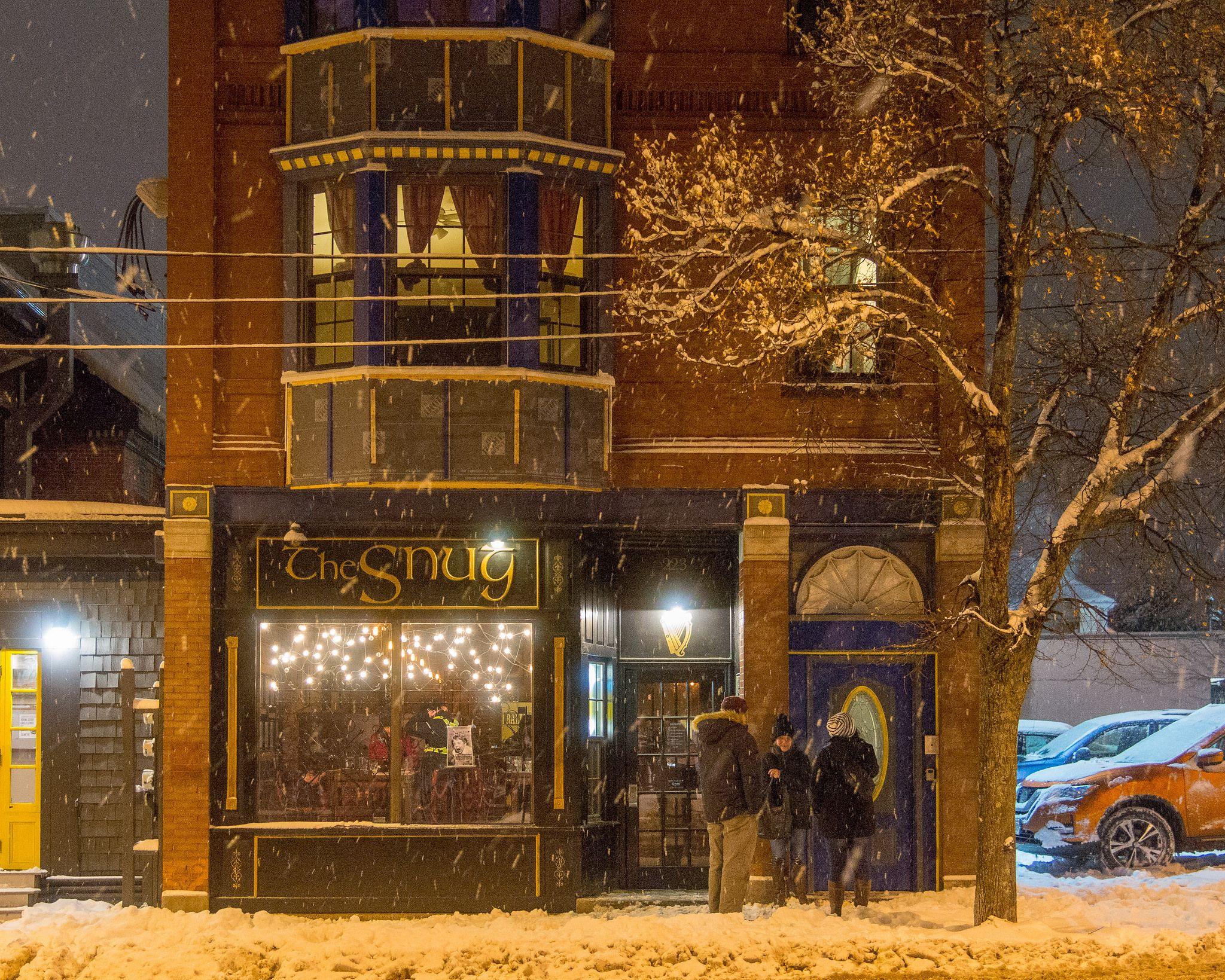 Winter Night Outside of the Snug Pub on Congress Street