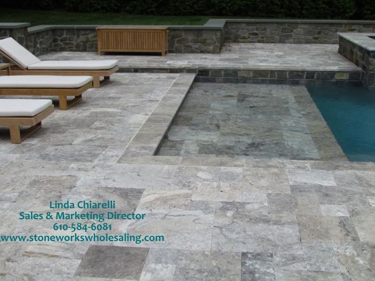 Pools With Silver Travertine Pavers In Pool Deck Google Search