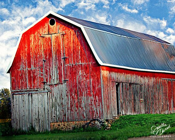 Red Barn Print or Canvas Art Rustic Home Decor Red Country