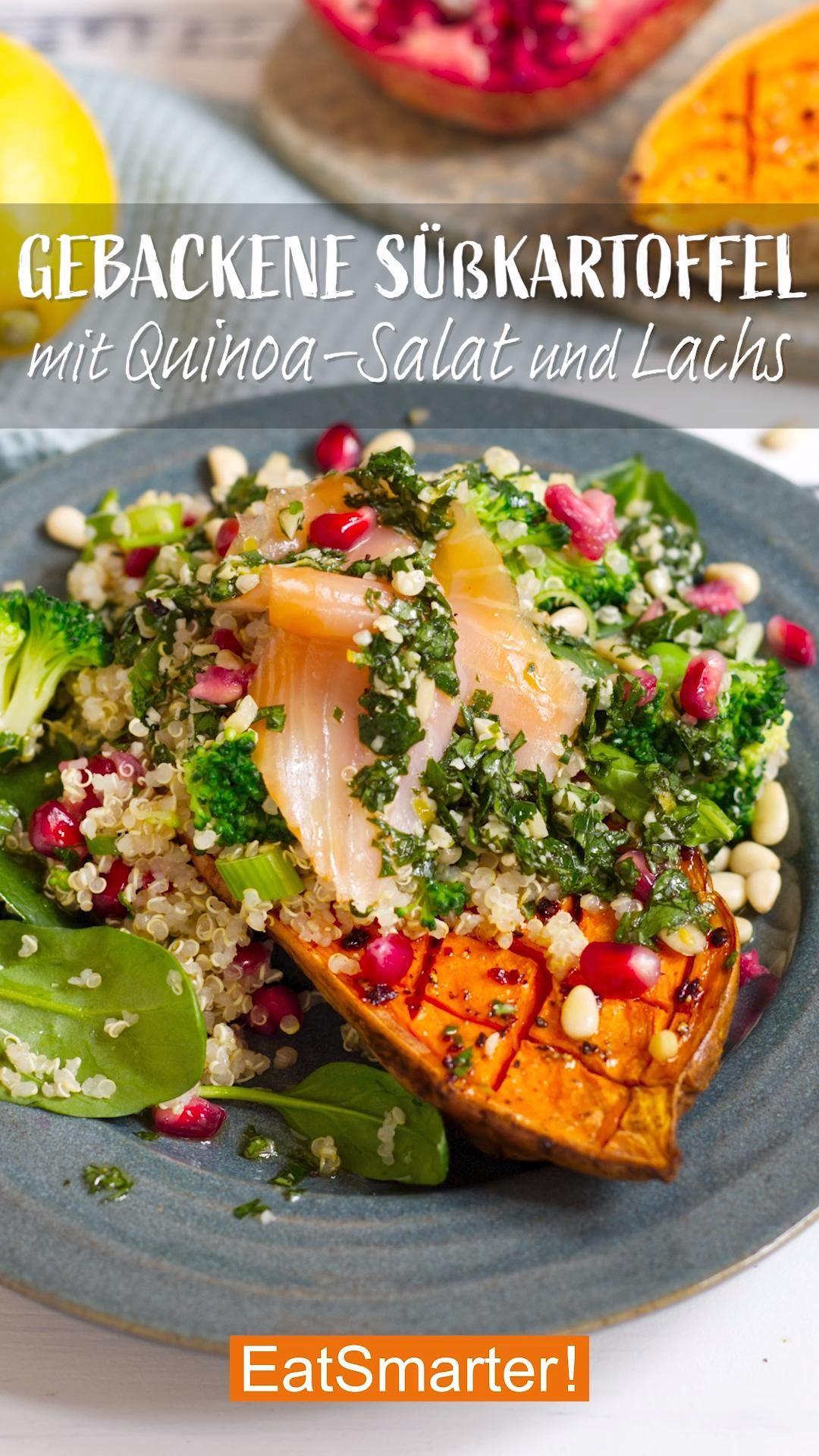Gesundes Abendessen: Gebackene Süßkartoffel mit Quinoa-Salat und Lachs  | EAT SMARTER