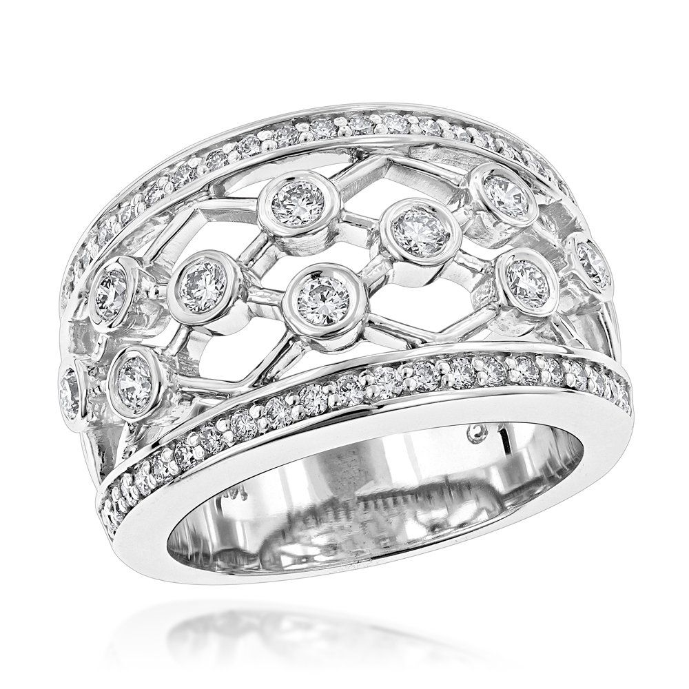 Wide 14K Gold Unique Diamond Right Hand Ring for Women by