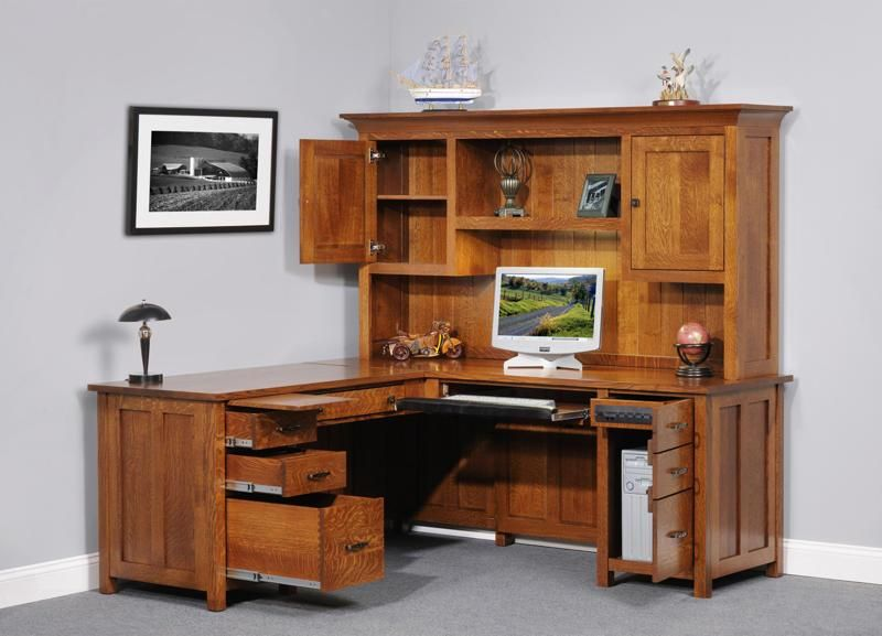 Amish Coventry Mission Corner Desk With Optional Hutch Top So Many Choices Come The To Make It Uniquely Yours